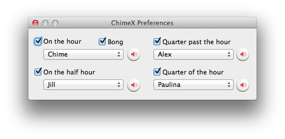 Chime X Preferences Window